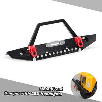 SCX10  Front Bumper with LED Headlights.
