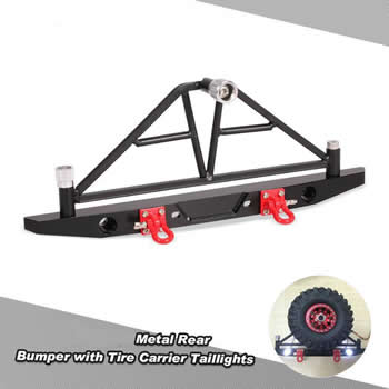 SCX10  Metal Rear Bumper with Tire Carrier&Taillights.