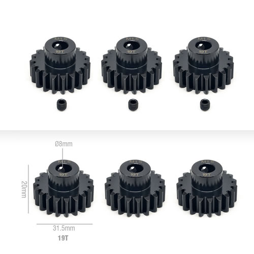 M1.5 Stainless Steel 11t-25t Pinion Gears 8.0mm for 1/8 RC Car