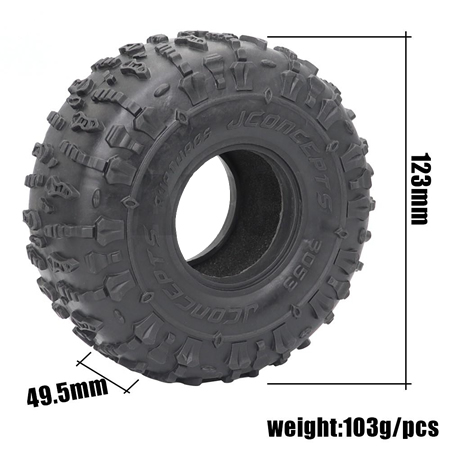1.9 inch JCONCEPTS Rubber Tyre 1.9 Wheel Tires 123X49.5MM